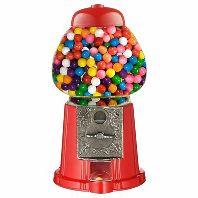 Mini Gumball Dispenser Machine Toy With Bubble Gum Kids Coin Operated - Red