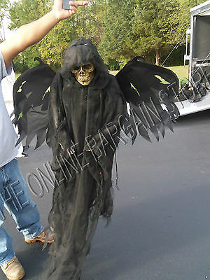 Grandinroad Halloween Creepy Flying Animated Light Up Winged Reaper Prop 5'