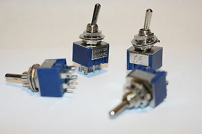 DPDT 3-Way Mini Toggle Switch 6 PIN ON OFF ON - 4 Pack (UK Stock)