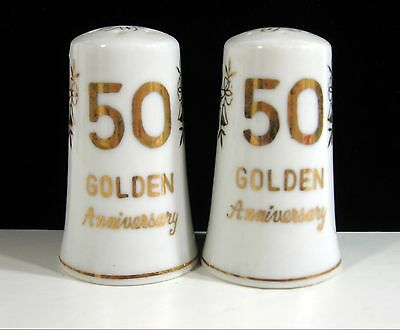 """50th GOLDEN ANNIVERSARY Salt and Pepper Shakers, Glass Japan 50 th 2 3/4"""""""