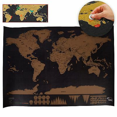 Black Deluxe Scratch Map World Map Poster Personalized Travel Vacation Gift
