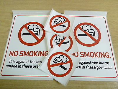 No Smoking Stickers, Durable Plastic Labels, Choice Of 2 Sizes