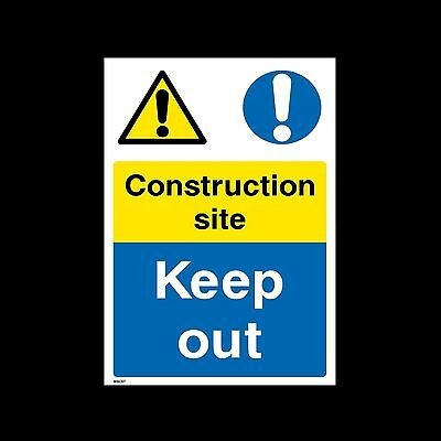 Construction Site Keep Out Plastic Sign or Sticker - All Sizes - (CS58)