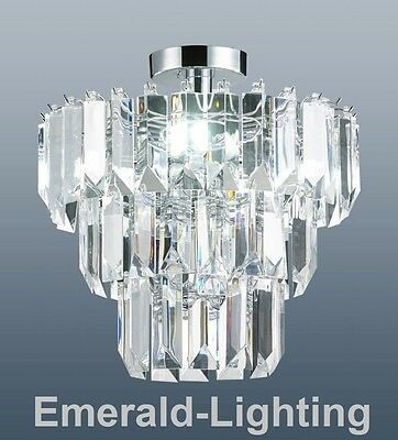 Chichester 3 Tier Flush Fitting Chandelier Ceiling Light Clear Acrylic Prisms