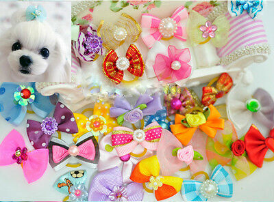 Wholesale 3-100pcs Multicolor Mix Pet Dog Hair Bow Pearl Flowers Rubber Bands