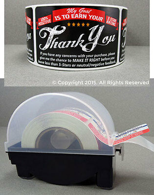 250 eBay etsy amazon Thank You For Your Purchase Stickers & LABEL DISPENSER 2x3