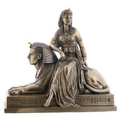 Egyptian Statue Cleopatra Queen on Sphinx Regal Female Pose Figurine #WU75693V4