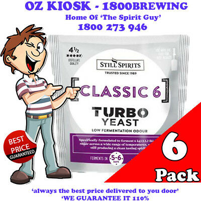 CLASSIC 6 TURBO YEAST x 6 @ $42.00 By STILL SPIRITS *** NEW PRODUCT RELEASE ***