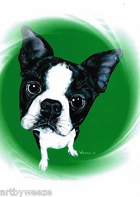 Boston Terrier Art Dog Breed Painting Puppy Picture Print 5x7 Weeze Mace
