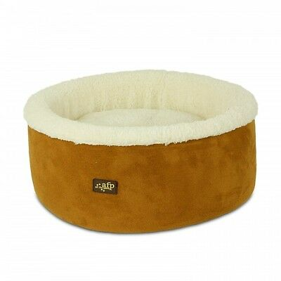 All For Paws Lamb Curl & Cuddle Cat Bed Tan