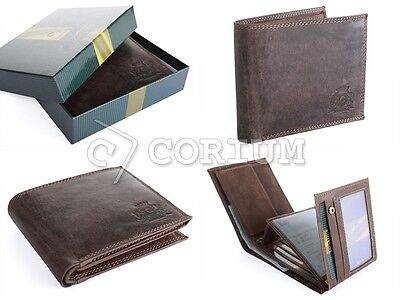 High Quality Luxury Mens Brown Leather Bifold Wallet Gift Credit Card Holder