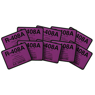 R-408A / R408A Forane (FX10) Label # 04010 Pack of (10) Refrigerant Labels