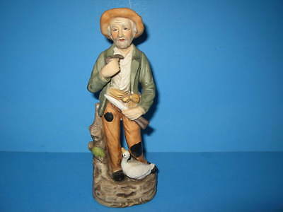 Vintage Homco Porcelain Old Man Farmer Figurine With Duck Goose #1417