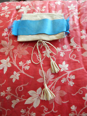 Antique Victorian Era Leather & Blue Silk Handmade Needle Case Sewing Roll