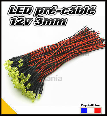 246C# LED 3mm 12v pré-câblé jaune diffusante 5 à 100pcs - pre wired LED yellow
