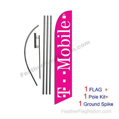 T-mobile (pink) Feather Banner Swooper Flag Kit with pole+spike