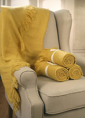 Throw Rug Soft Touch Blanket Decorative Bedding Blanket 127x150cms - MUSTARD