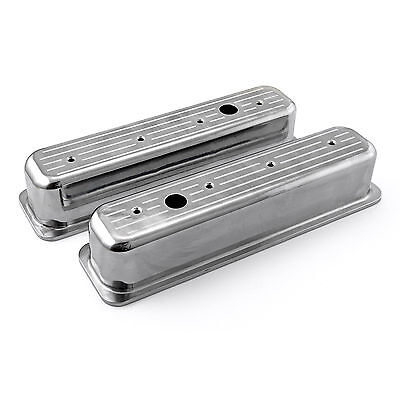 Chevy SBC 350 Center Bolt Polished Aluminum Ball Milled Valve Covers Tall w/Hole