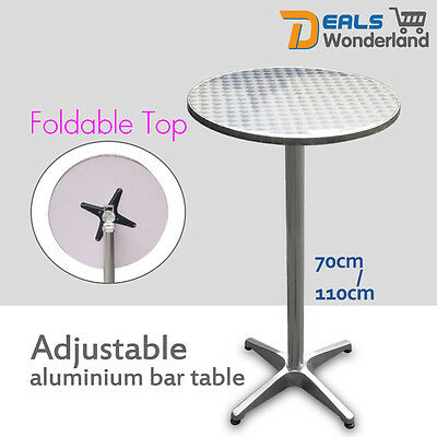 Adjustable Aluminium Garden Round Outdoor Indoor Foldable Cafe Bar Pub Table
