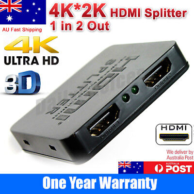 HDMI 1 In 2 Out Splitter Amplifier Duplicator Full HD 4K 2K 3D V1.4 DVD HDTV