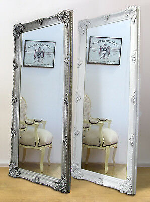 """Abbey Ornate Large Full Length Leaner Mirror White or Silver 65"""" x 31"""""""