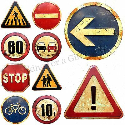Embossed Metal Traffic / Road Sign Wall Plaque in Retro / Rusty / Urban design