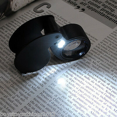 40 x 25MM Magnifying Eye Glass Lens Jewellery Loupe LED Light & Protective Case