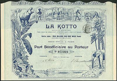 La Kotto S.A.,  'part beneficiaire', Paris 1907,