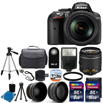 NEW Nikon D5300 Digital SLR Camera +3 Lens 18-55mm VR +Flash + 24GB Complete Kit