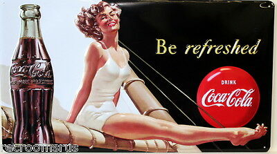 COCA COLA be refreshed metal sign heavy embossed coke pinup girl vintage style