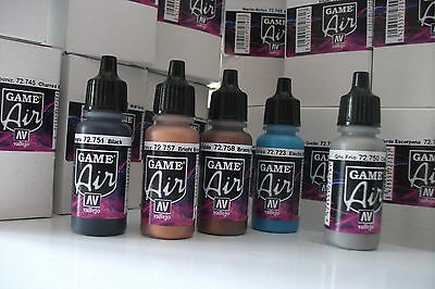 NEW COLOURS VALLEJO GAME AIR ACRYLIC AIRBRUSH PAINTS CHOOSE ANY 5 x 17ml BOTTLES