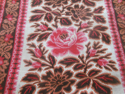 Antique French Pink Brown Copper Roses Roller Cotton Fabric ~ quilts projects