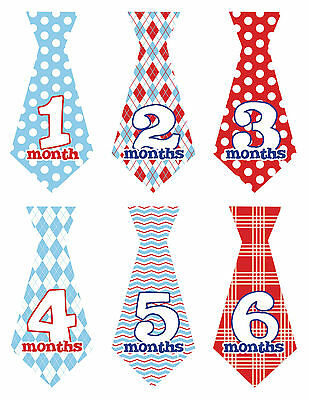Baby Boy Monthly Stickers TIES NEW 12+ Just Born Red/Blue Dots Gingham UNCUT