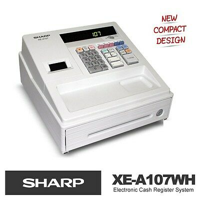New SHARP XE-A107 White Electronic Cash Register supercede XE-A102 (1 Year Wrty)