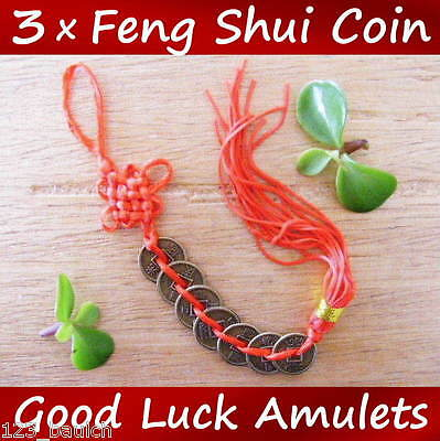3 x Feng Shui Chinese Good Luck 7 Coin Red Tassel Prosperity Success Money Charm