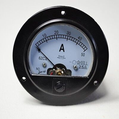 Good Quality Round Analog Amp  Panel Meter Current Aameter Dc 0-50A + Shunt
