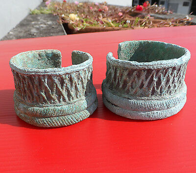 RARE...Two Bronze bracelets from Thailand, ancient Kmer civilization.3.8 cm.