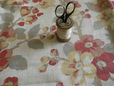 Antique Vintage French Blossom Floral Cotton Fabric ~ Coral Red Mustard Gray