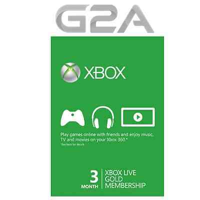 Xbox Live Gold 3 Months - Microsoft XBL 3 Month - Xbox One 360 Subscription Card
