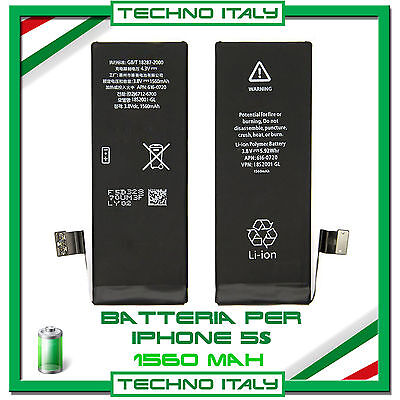 BATTERIA RICAMBIO ORIGINALE PER APPLE IPHONE 5S 1560 mAh ✚ ZERO CICLI
