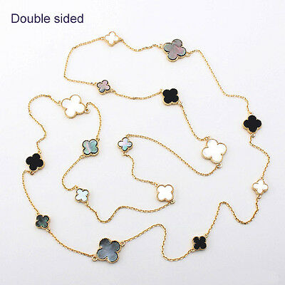 """Gorgeous 16-motifs mixed Mother of Pearl four leaf clover 50"""" long Necklace-4-G"""