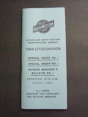 1982 C&NW Chicago North Western Railroad Twin Cities General Special Bulletin