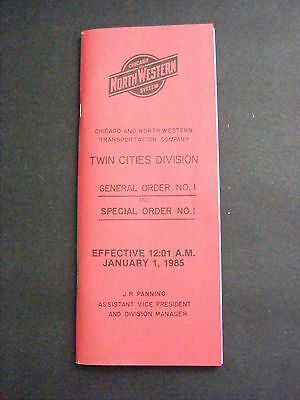 1985 C&NW Chicago North Western Railroad Twin Cities General Special Order