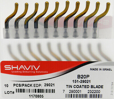 10pcs Type B20P HSS TiN Coated Bi-Directional Deburring Blades Shaviv #29021