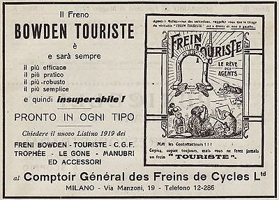Pubblicita' 1919 Freni Bowden Touriste  Comptoir General Des Freins De Cycles