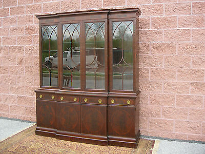 Wm A Berkey Inlaid Flame Mahogany 4 Door Bookcase Top Breakfront China  ca 1920