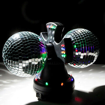 Twin Mirror Disco Ball Lamp Rotating Accent Light DJ Party Creative Motion 11420