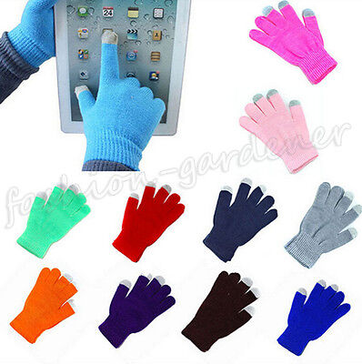 Unisex Magic Touch Screen Gloves Smartphone Testing Stretch Winter Knit 20Colors