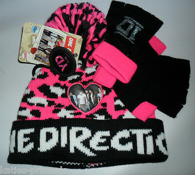Primark 1D One Direction Girls Hat & Fingerless Gloves Set Age 7 - 13 One Size