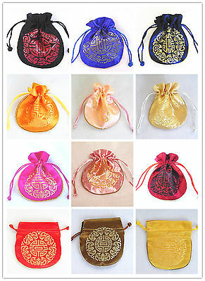 Lucky Embroidered Silk Gift Bag Purse Jewellery Wedding Party 11x12cm 12 Choices